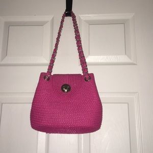 Pink purse with silver chain